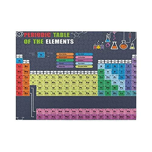 HASENCIV 500 Piezas Rompecabezas Rompecabezas 2019 actualizado Tabla periódica de Elementos Amantes de la química fanáticos de la Ciencia para un Aprendizaje Divertido Familia Educativo