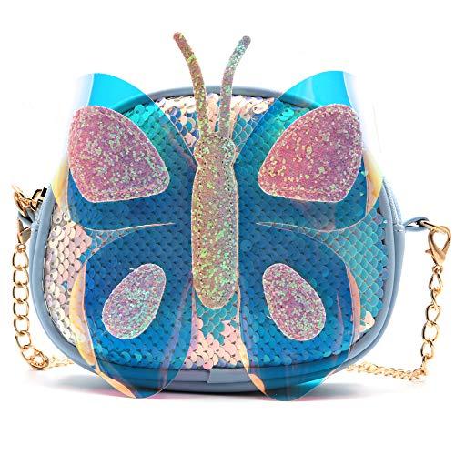 QiMing Little Sequin Butterfly Crossbody Purse,PU Shoulder Handbag for Kid Girl Blue Size: S