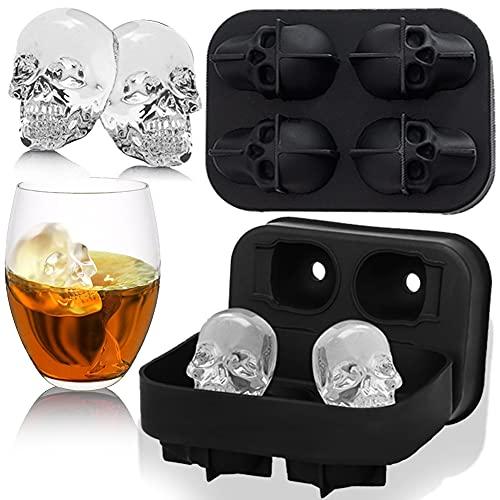 Muffa del Ghiaccio,Stampi Ghiaccio Cocktail,Cubetti di ghiaccio whisky,Stampo 3D per cubetti di Ghiaccio a Forma di Teschio Stampi in Silicone Con Coperchio,Usato per Cocktail Whisky (Nero)