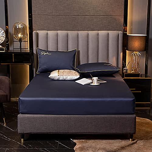 XGguo Protector de colchón de bambú Funda de colchón y Ajustable Sábana de algodón a Prueba de Polvo-Even Blue_150 * 200 + 30cm