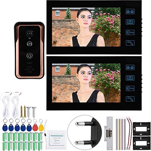 zcyg Timbre Timbre para Puerta Timbre, 7in 2 Monitores Video Cableado Teléfono De Puerta IR Cámara Intercomunicador con Bloqueo De Cátodos