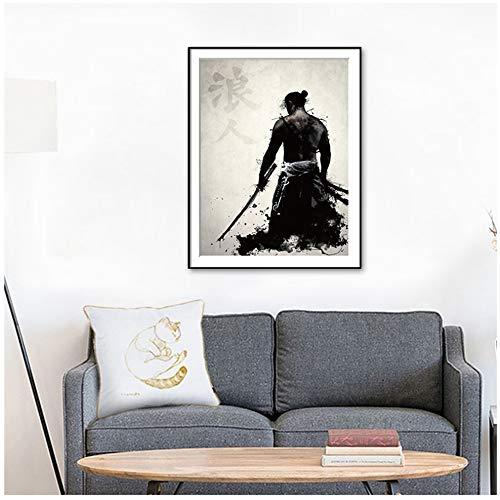 YCCYI Bild auf Leinwand Japanische Tinte Leinwand Kunstdruck Poster Samurai Schwarz Weiß Wandkunst Gemälde für Wohnzimmer Wohnkultur 20x28 Zoll (50x70cm) Kein Rahmen