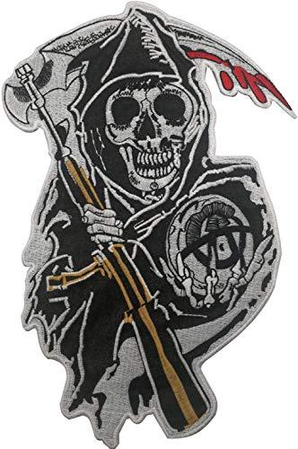 Sons of Anarchy Grim Reaper Motorrad Biker Stil Groß bestickt Aufnäher Applikation für Kleidung MC Weste Jacken Rucksäcke 32 x 21 cm