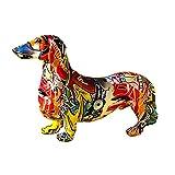TLM Toys Figurine de chien colorée - Statue de jardin en résine - Décoration moderne pour chien - Décoration de jardin
