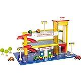 small foot 1510 Spielwelt Parkhaus aus Holz mit Kunststoff-Rampen, mit zahlreichem Zubehör