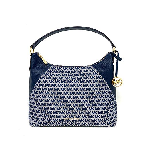 """Easy, everyday organization. This Signature shoulder bag from MICHAEL Michael Kors features a removable crossbody strap for hand-free wear. Large sized bag; 14""""W x 12""""H x 5""""D (width is measured across the bottom of handbag); 1.4 lbs. approx. weight S..."""