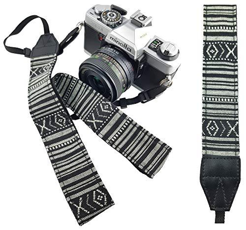 Vintage Retro Kameragurt Schultergurt schwarz-weiß Trageriemen Tragegurt Schulterriemen für DSLR & Kompaktkameras, sicherer Schulterpolster - Mind Care Essentials (s/w)