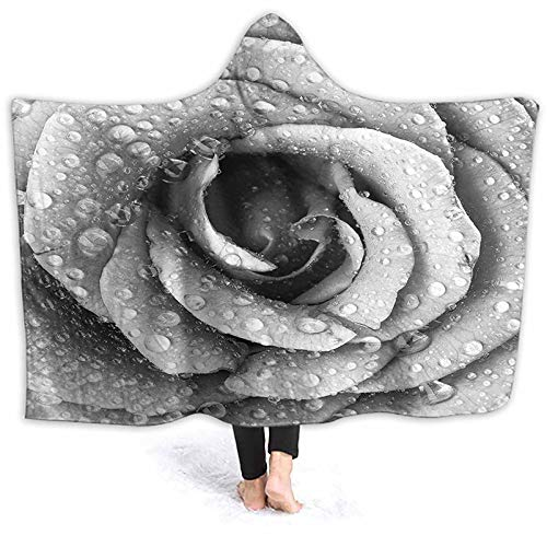 Hooded Blanket Rose Petal Figure Rain Drops Valentin Love Picture Black and White Blanket Poncho Thingy for Outdoor Camping, Picnic, Sports, Concerts, Stadium, Travel, Car 80 x 60 Inch