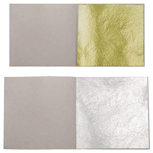 10 Blatt Echtes Blattgold 23,75 Karat 3,8 x 3,8 cm Echtgold Speisen Essbar + 10 Blatt Echt Blattsilber 6 x 6 cm