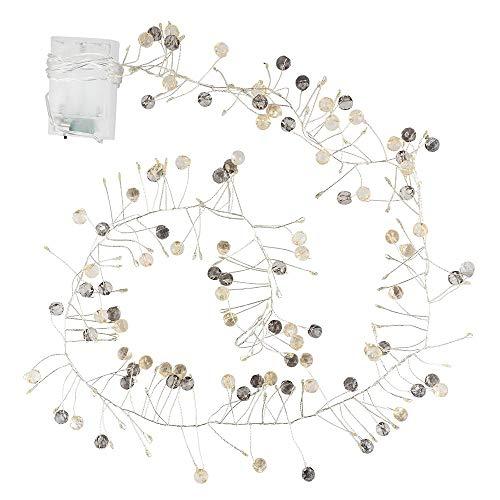 LED-Lichterkette | batteriebetrieben | mit Kristall-Perlen-Bündeln | 100 LED-Lämpchen in Warmweiß | Tisch-Deko | Zimmer-Deko für Innen | mit Timer (6 Stunden AN | 18 Stunden AUS)