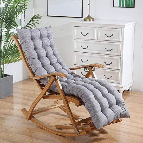 Lounge - Cojín largo para asiento de silla para interior y exterior, almohadilla de asiento de silla suave, alfombrilla reclinable de madera de repuesto con cuerda de corbata, colchón antideslizante