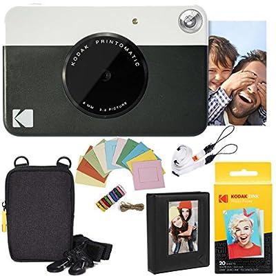 KODAK Printomatic Instant Camera Deluxe Bundle + Zink Paper (20 Sheets) + Deluxe Case + Photo Album + Hanging Frames + Comfortable Neck Strap from Kodak