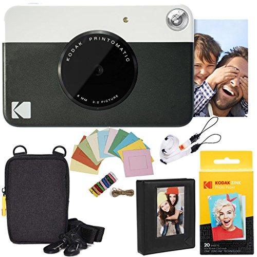 Kodak AMZRODOMATICK2BK Printomatic Instant Camera (Black) Deluxe Bundle + Zink Paper (20 Sheets) + Deluxe Case + Photo Album + Hanging Frames + Comfortable Neck Strap
