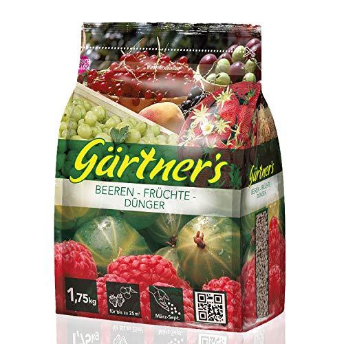 Gärtner's NPK Dünger für Beeren und Früchte 1,75 kg I Gesundes Wachstum für Beerensträucher und Fruchtsträucher I NPK Pflanzendünger 9+4+8 I Für bis zu 30 m²