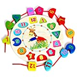 Univocean Wooden Montessori Analog Clock for Kids, Preschool Number Teaching Educational Learning Clock Toy - Multi Color