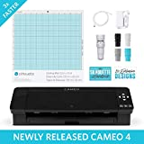 Silhouette Cameo 4 with Bluetooth, 12x12 Cutting Mat, Autoblade 2, 100 Designs and Silhouette Studio Software - Blue Pattern Edition
