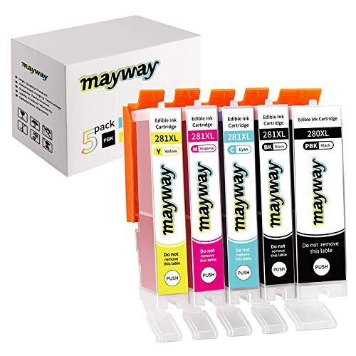 Mayway Ink Cartridges 280XL 281XL 280 281 XL for C A K E Printer, C A K E Maker, Work with PIXMATR7520 TR8520 TS6120 TS6220 TS8120 TS8220 TS9120 TS9520 TS9521C TS702 Printer (5 Pack, No Photo Blue)
