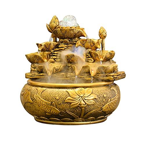 Fuente de interior Fuente de agua de resina de escritorio afortunado feng shui Fountain Ornament - Calmante y relajante sonido de agua - para la decoración de la mesa de oficina Fuente de mesa de rela