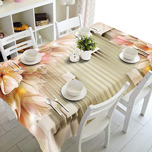 RFGED Creativo Flores Doradas Mantel 3D Rectangular Rectangular Cubierta De Mesa Plegable Impermeable Poliéster Jardín para Muebles De Cocina