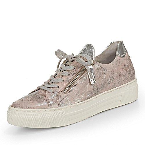 Gabor Damenschuhe 66.468.62 Damen Sneaker, Schnürer, Schnürhalbschuhe mit Reißverschluss, in Übergröße pink (Rose/Argento), EU 7