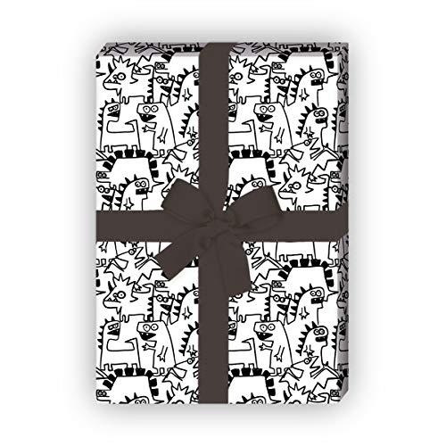 Kartenkaufrausch Monster cool cadeaupapier set met Doodle Dino Monsters voor liefdevolle geschenkverpakking 32 x 48 cm, 4 vellen voor het inpakken voor verjaardagen, kinderen, tieners, zwart