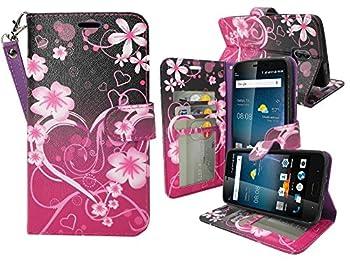 for 5.5  ZTE Blade V8 PRO bladev8pro Case Phone Case Designed Wallet Fold Kick Stand Hybrid Pouch Card Pocket Purse Screen Flip Cover  Big Heart Pink