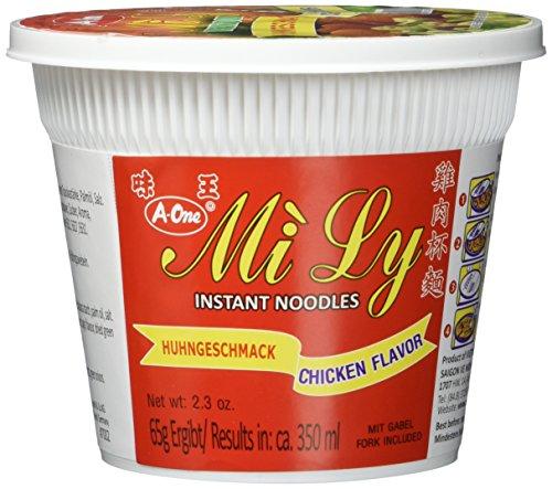 A-One Instant-Cup-Nudeln (im praktischen Becher, mit Gabel, schnelle Zubereitung - in 3 Min.) Huhngeschmack, 12er Vorteilspackung (12 x 65g)