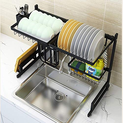 Over The Sink Dish Drying Rack Above Sink Dish Rack Drainer Kitchen Counter Storage Organizer Stainless Steel Space Saver Shelf 2 Tier Large Utensils Holder Black ≤25.6 inch