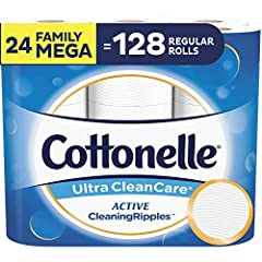 Contains 4 packs of 6 family mega rolls (24 family mega rolls total) = 131 regular rolls, 388 sheets per toilet paper roll Strong, 1-ply toilet paper with Active CleaningRipples Texture that removes more at once for a superior clean vs. the leading v...