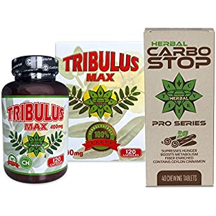 Cvetita Herbal, Tribulus terrestris capsules + CARBO STOP combo bundle, 120 capsules x 400mg natural bulgarian tribulus terrestris extract, extreme testosterone booster, muscle gainer and libido enhancer and 40 Tablets x 1780 mg Ceylon Cinnamon + Inulin (Fiber)   Boost Metabolism & Suppresses Hunger   Natural prebiotic