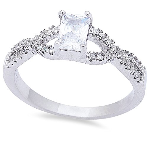 Oxford Diamond Co Simulated Emerald Cut White Cubic Zirconia .925 Sterling Silver Ring Size 9