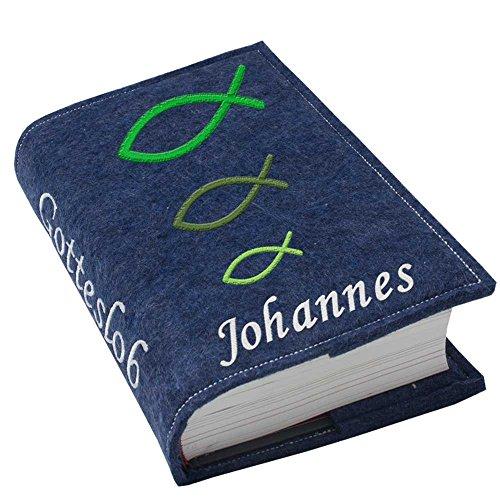 Gotteslob Gotteslobhülle Hülle Fische grün Filz mit Namen bestickt Einband Umschlag personalisierte Gesangbuchhülle, Farbe:dunkelblau meliert