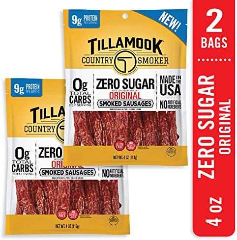 Tillamook Country Smoker Zero Sugar Original Keto Friendly Smoked Sausages 2 pack 8oz product image