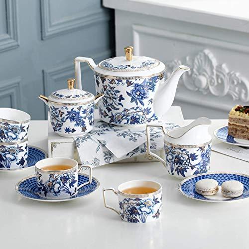 Pieces Blanco y azul Retro de la porcelana británica de la porcelana de la vendimia Servicio de té de la boda para adultos Conjunto de café de cerámica Copa de té y platillos con cuchara de café juego