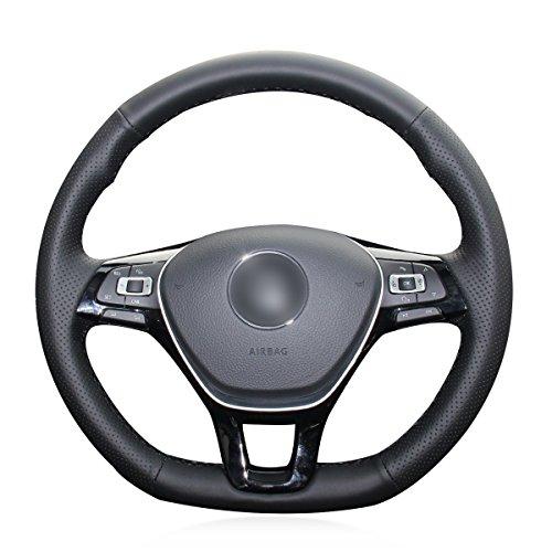 Mewant - Funda para volante de coche, hecha a mano, transpirable, de piel sintética, color negro, para Golf 7 Mk7, Polo Jetta Passat B8, Tiguan, 2017, Sharan, 2016, 2017, Touran, 2016 y 2017