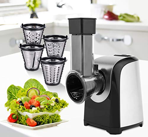 Automatic Electric Slicer Shredder Professional Salad Maker Machine with One-Touch Control and 4 Free Attachments for fruits, vegetables, and cheeses (Darkblack)