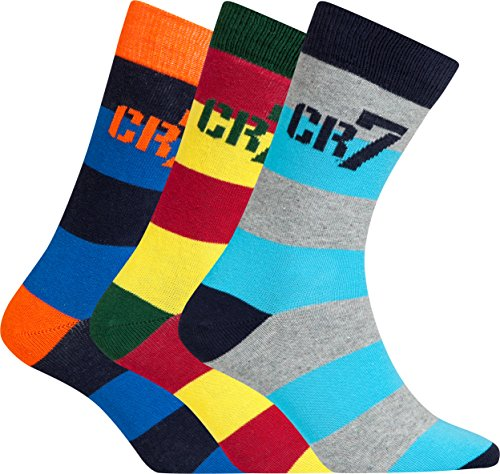 CR7 Jungen Socken 3er-Pack, Baumwoll-Stretch, Grau/Gelb/Blau, Gr. 40-43, 8470-80-422