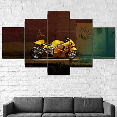 ZHRMGHG Impresiones sobre Lienzo Moderno HD Impreso Pintura Lienzo Decoración para El Hogar 5 Piezas Bicicleta Motocicleta Hayabusa Amarilla Poster Wall Art Picture