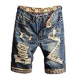 HZCX FASHION Men's Vintage Slim Fit Distressed Denim Shorts Cut-Off Jean Short(Blue,36)