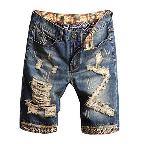 HZCX FASHION Men's Vintage Slim Fit Distressed Denim Shorts Cut-Off Jean Short(Blue,38)