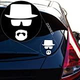 Yoonek Graphics Walter White Heisenberg Breaking Bad Decal Sticker for Car Window, Laptop, Motorcycle, Walls, Mirror and More. # 548 (4' x 3.6', White)