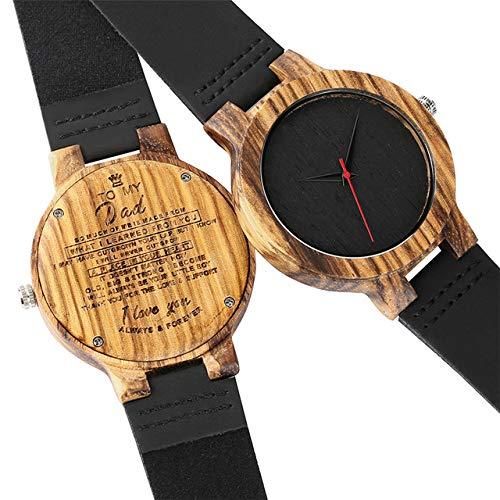 RWJFH Reloj de Madera Regalos Artículo para mi papá Diseño Reloj de Madera de Cuarzo para Hombres Artículos de cumpleaños del día del Padre Reloj de Pulsera de Cuero para Hombre, Solo Reloj
