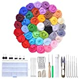Y-Step Felting Wool Roving 40 Colours Merino Wool Fibre Roving with 1 Set Needle Felting Starter Kit Wool Felt Tool