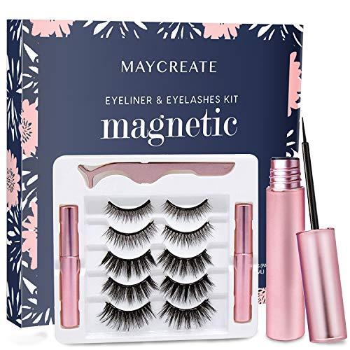 Kit eyeliner magnetico e ciglia – Kit eyeliner magnetico e ciglia magnetiche, non necessita di colla | 5 paia