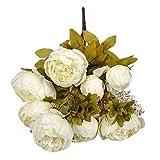 Alaso Fleurs Artificielles,Fausse Fleur, 1 Bouquet 8 Têtes Artificielle Pivoine Soie Fleur pour Decoration Maison Jardin Fête Arrangement de Fleur