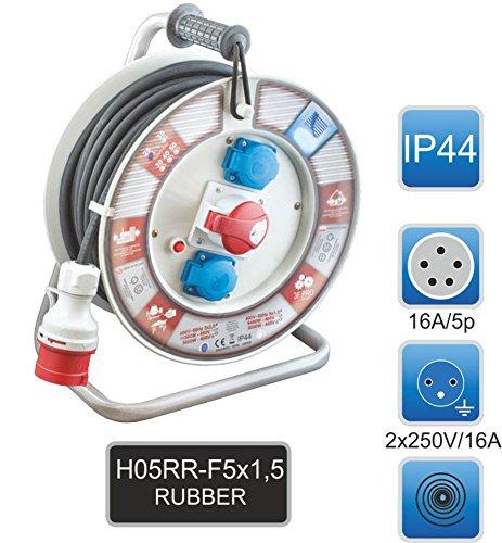 Sicherheits-Kabeltrommel CEE 16A/400V + 2 x 230V/16A Baustromkabel 50m m. Thermoschalter