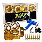 HUMBLE Skate T-Tool - Accessoire de Skate - 8 Roulements à Billes Skateboard - ABEC 9 Gold Titanium - Visseries- Entretoise Bonus
