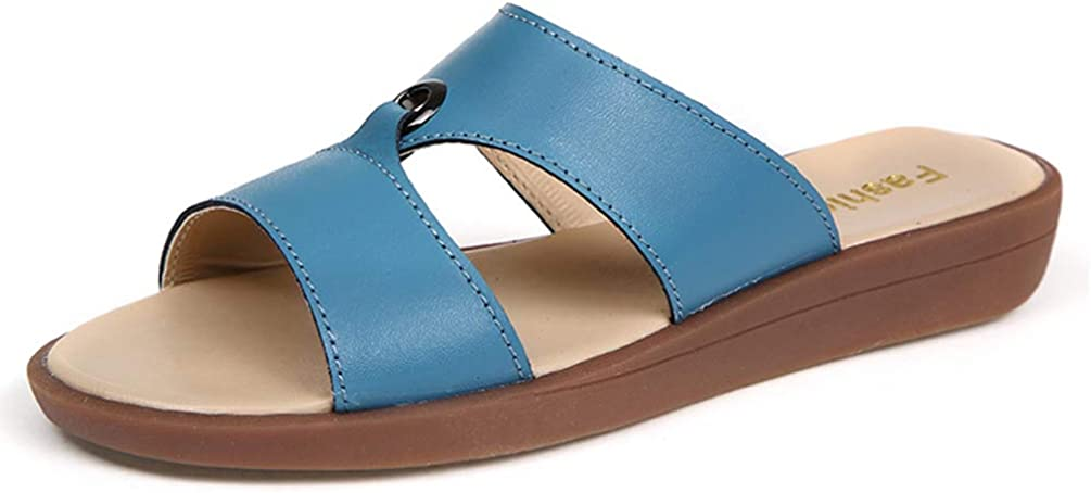 Women Wedge Sandals Two Band Platform Slides Wavy Sole Slippers Open Toe
