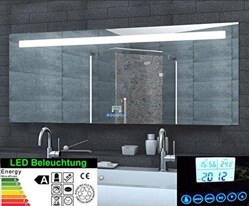 rmi-onlineshop Multimedia Badezimmer Spiegel LED Beleuchtung 87 LED Handy Halterung Uhr Radio MP3 USB Touchschalter Aluminium Rahmen 160x60cm