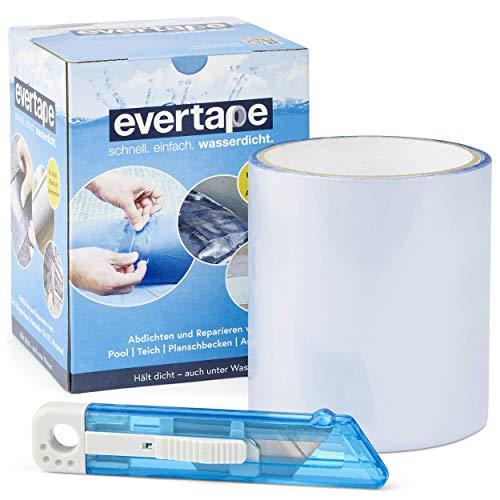 EVERFIX Evertape Reparatur Klebeband, Reparaturset, wasserdicht, Set zum Abdichten und Reparieren - auch auf nasser Fläche und unter Wasser verwendbar (10 cm x 150 cm) transparent
